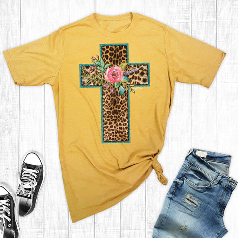 T-Shirts - Gold New Leopard Cross