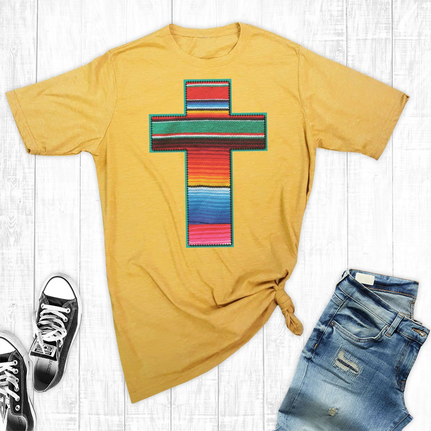 T-Shirts - Gold Serape Cross