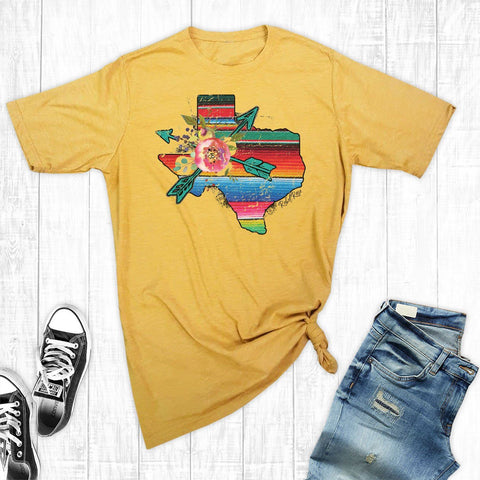 T-Shirts - Gold Serape Texas