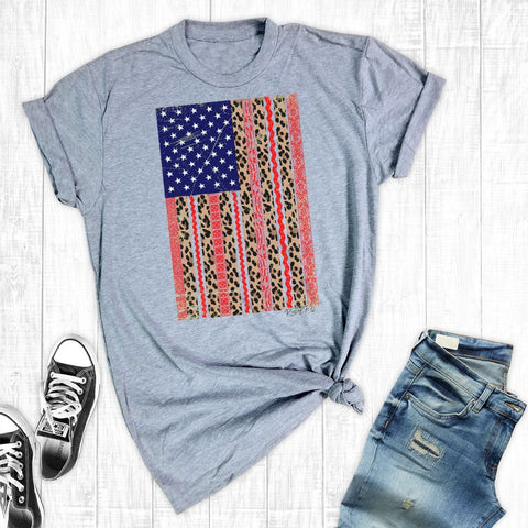 T-Shirts - Leopard Lace USA Flag