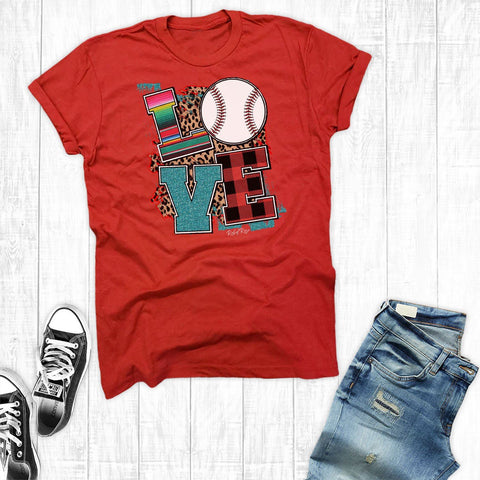 T-Shirts - Love Glitter Baseball