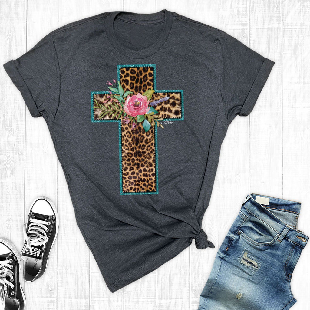 T-Shirts - New Charcoal Leopard Cross