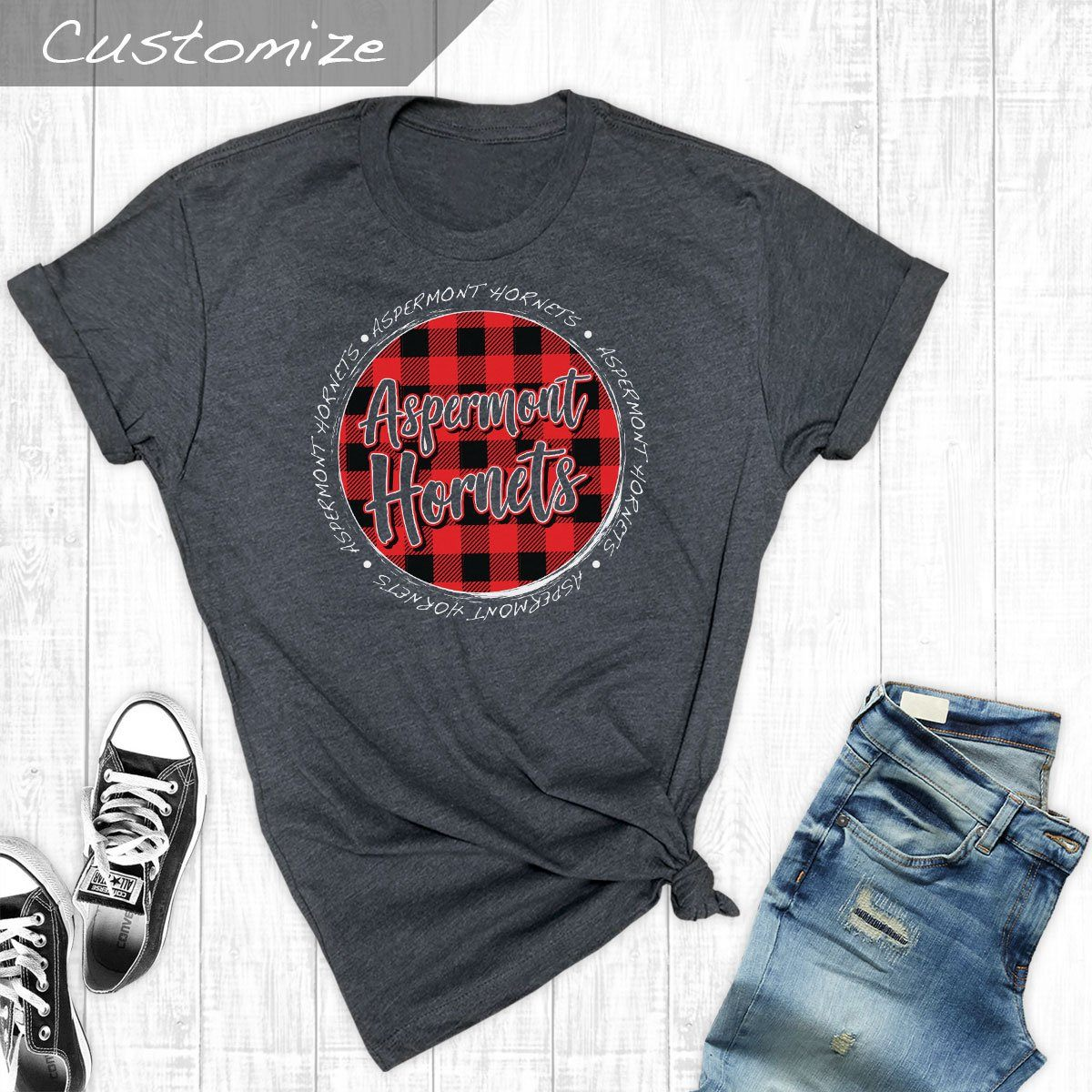 T-Shirts - Plaid Circle Aspermont Hornets