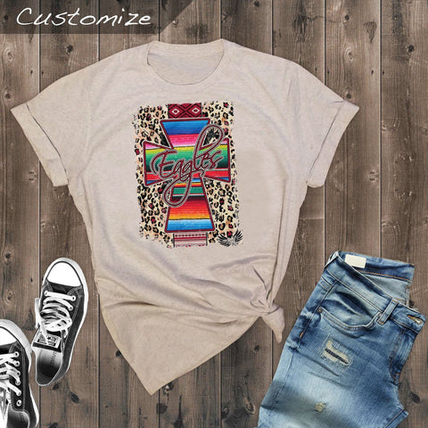 T-Shirts - Serape Aztec Cross Roosevelt Eagles