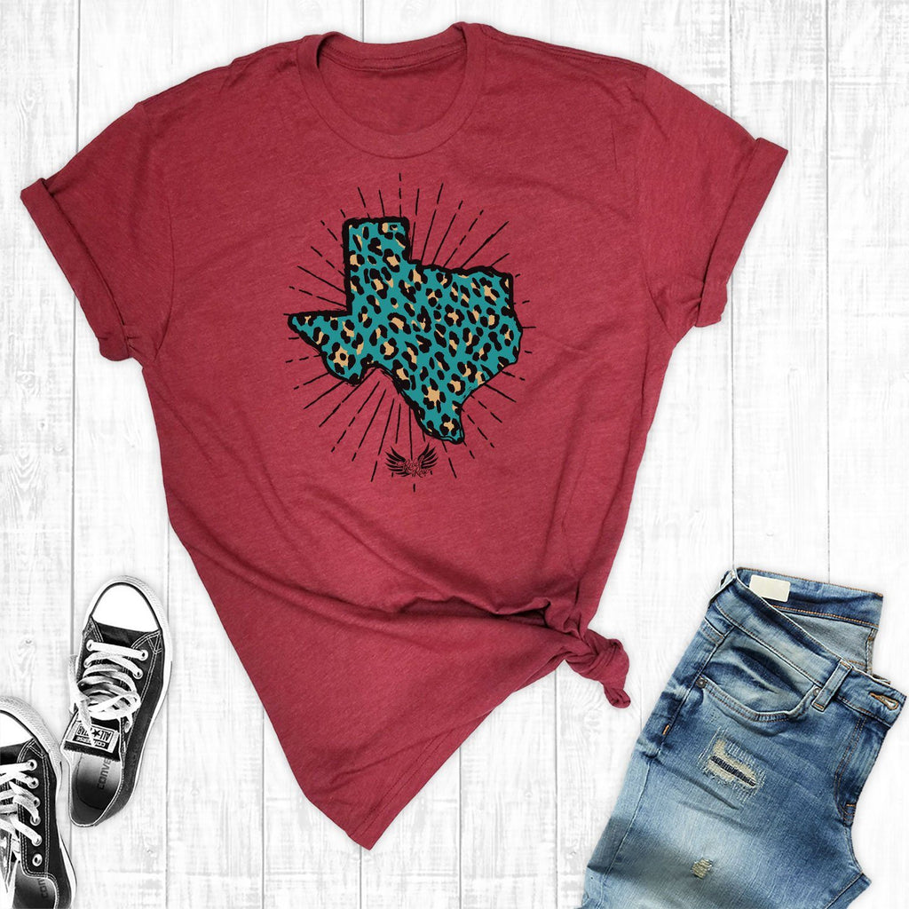 T-Shirts - Turquoise Leopard Texas