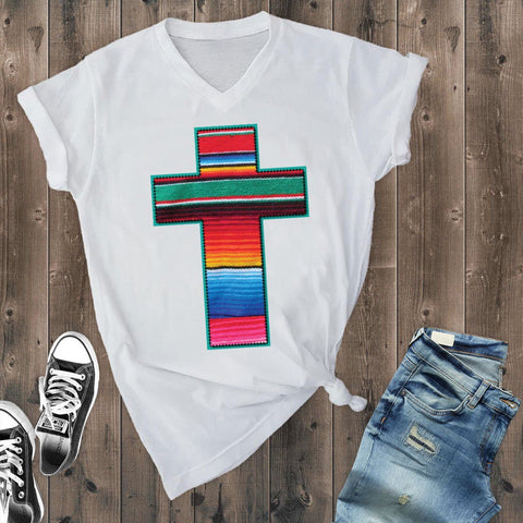 T-Shirts - White Serape Cross