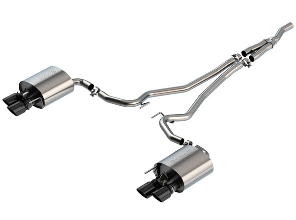 Borla S-Type Catback Exhaust for 2019+ Ford Ecoboost Mustang w/ Active Exhaust (Black Chrome Tips)