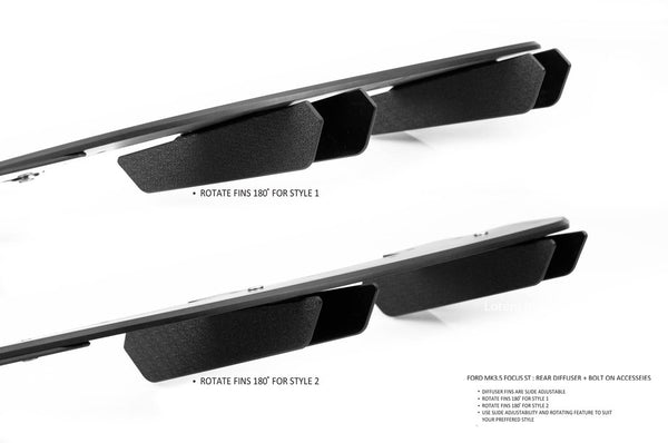 Flow Designs Rear Diffusor Set for 2015+ Ford Focus ST