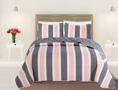Fenwick Collection 3-Piece Coastal Beach Theme Microfiber Quilt Set with Shams