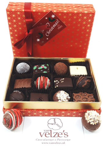 Christmas selection box Amsterdam, chocolade kerst truffels Amsterdam, Chocolate Christmas truffles Amsterdam. Christmas selection box