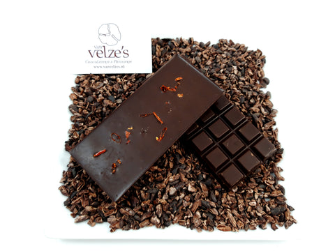 Chocolade reep Puur/Chilli, Puur en donkere chocolade, massief chocolade, massieve, pure chocolade, Amsterdam