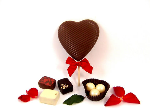 Valentijn hart chocolade Amsterdam Valentijnsdag lollie lolly Chocolate Heart Lolly Valentine's day chocolate lolly