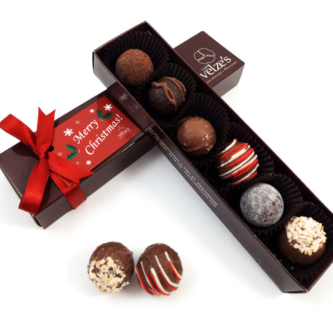 chocolade kerst truffels Amsterdam, Chocolate Christmas truffles Amsterdam. Christmas selection box