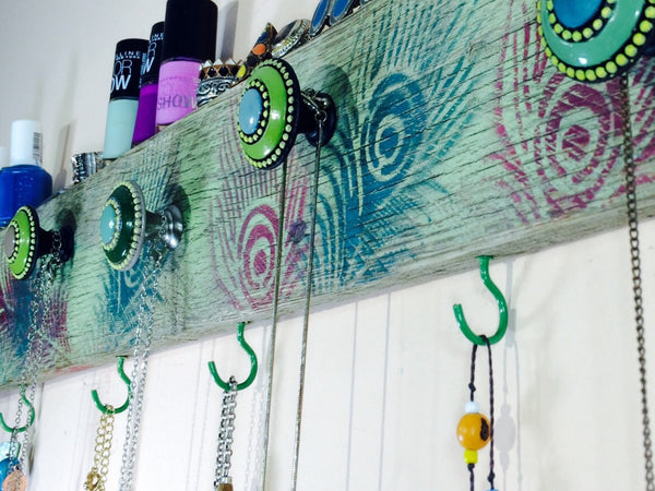 Made to order - Necklace hanger / reclaimed pallet wood decor /jewelry holder peacock feathers 4 green hooks, 5 hand-painted knobs