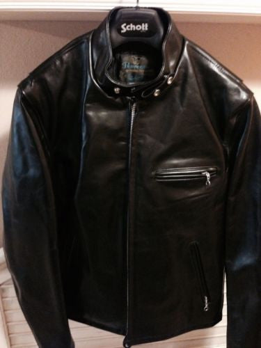 schott usa 641 hh horsehide perfecto cafe racer jacket black size