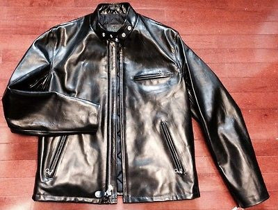SCHOTT USA 641 HH HORSEHIDE PERFECTO CAFE RACER JACKET BLACK SIZE 48 NEW 641HH