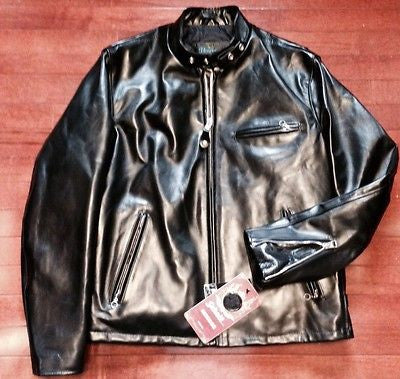 SCHOTT USA 641 HH HORSEHIDE PERFECTO CAFE RACER JACKET BLACK SIZE 46 NEW 641HH