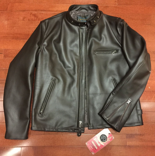 RJL Limited Custom Brown Italian Horsehide Cafe Racer Jacket By Schott Bros NYC