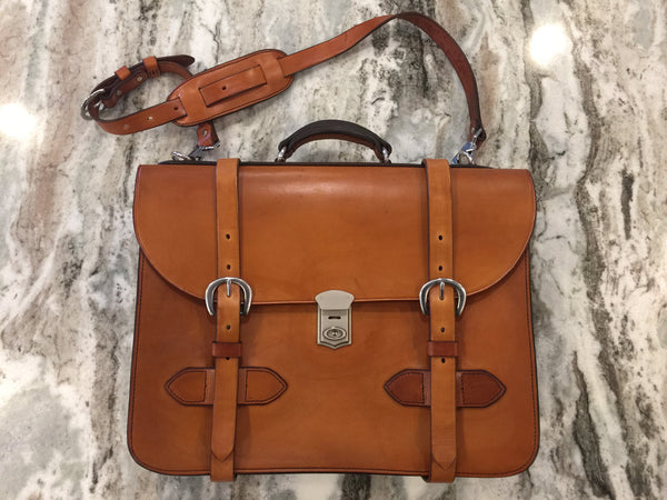 RJL Ltd. English Bridle Leather Explorer Satchel  British Tan