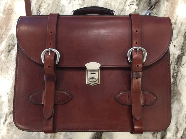 RJL Ltd. English Bridle Leather Explorer Satchel  Mahogany Brown