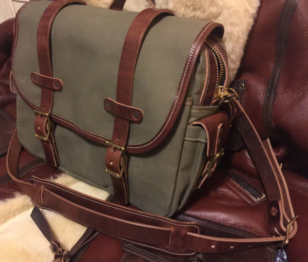 RJL LTD Explorer's FIELD BAG Type II By Vermilyea Pelle Olive Canvas & Horween Harness