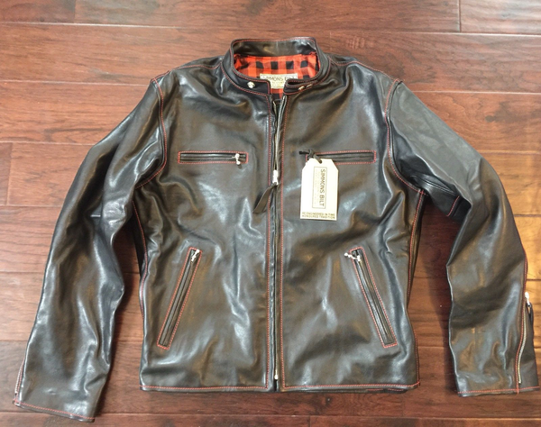 RJL LTD  Black  Veggie Tanned  Italian Horsehide British Racer Jacket By Simmons Bilt