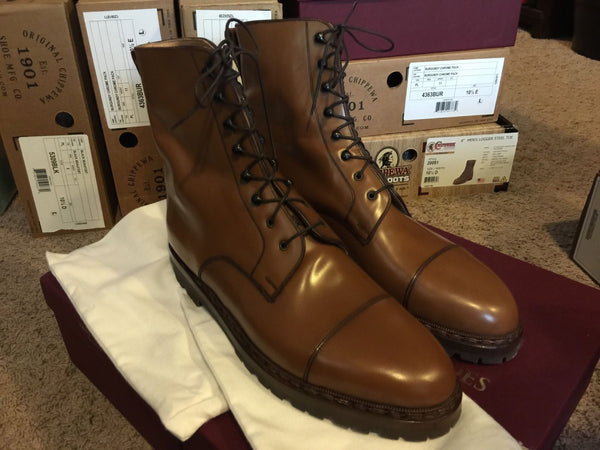 Vass  Captoe boot with Commando Sole in Saddle Shell Cordovan  Limited Production