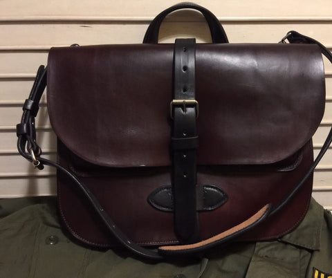 Privateer Bridle Leather Field Satchel in Mahogany Brown with Black trim