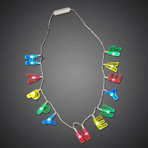 LED Happy New Year Necklace - flashingo