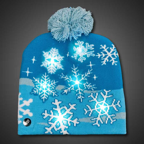 LED Beanie Snowflake Sock Hat - flashingo