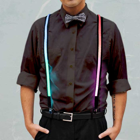 Rainbow Multicolored Light Up Suspenders - flashingo