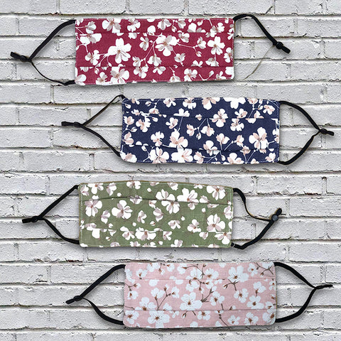 Three Layer Cotton  Facemasks - Pack of 5 Floral Pattern - flashingo