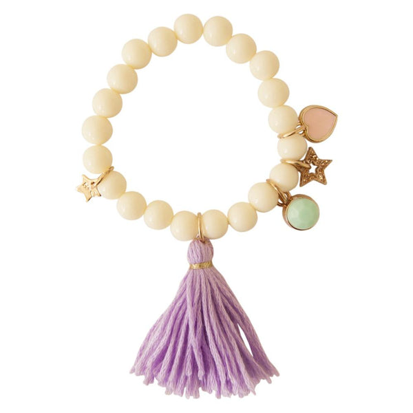 Children's acrylic cream beaded bracelet with purple tassel and glitter hallow star charm, heart enamel charm, and rhinestone charm.