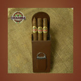 Leather Cigar Case Magnetic W / Cutter & 3 Covadonga Cigars