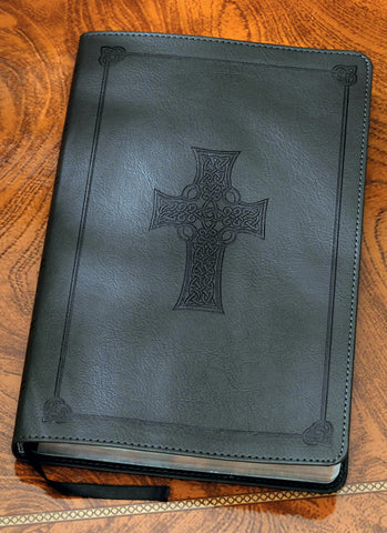 Celtic Cross Bible in Charcoal