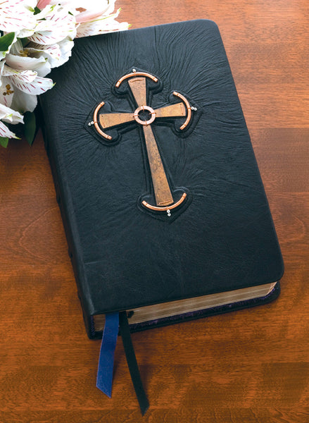 Hand Bound Leather Bible with Celtic Cross
