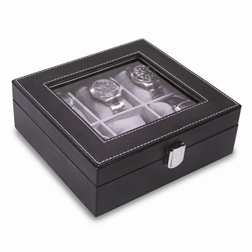 Black Faux Leather Watch Case
