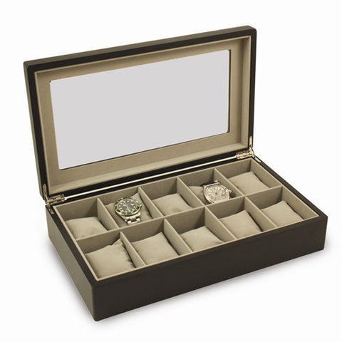 Matte Black Wood Watch Box with Glass Top