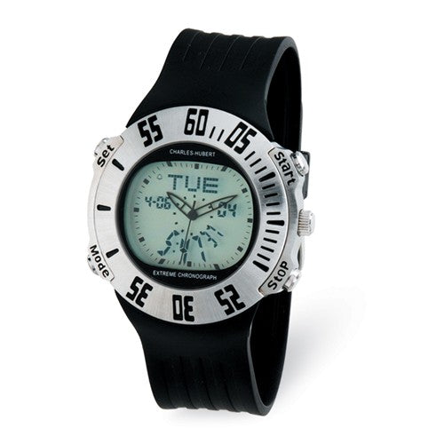 Mens Silver Digital Dial Chronograph Watch