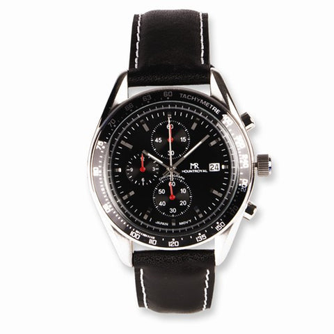 Mens Mountroyal Leather Band Black Chrono Watch