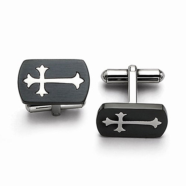 Black Cuff Links with Polished Cross