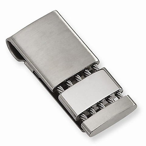 Brushed & Polished Stainless Steel Money Clip