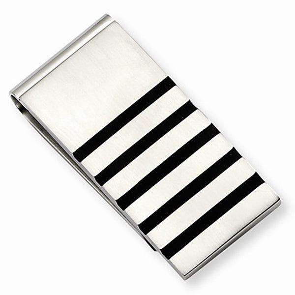 Brushed Stainless Steel Money Clip with Rubber Accents