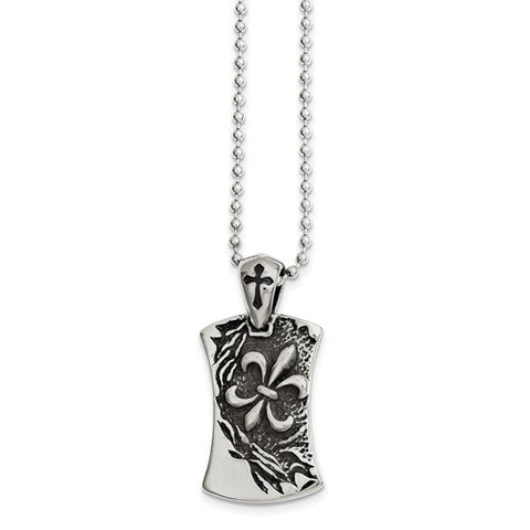 Stainless Steel Antiqued Fleur De Lis Dog Tag