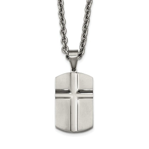 Stainless Steel Brushed And Polished Carved Cross Dogtag Necklace