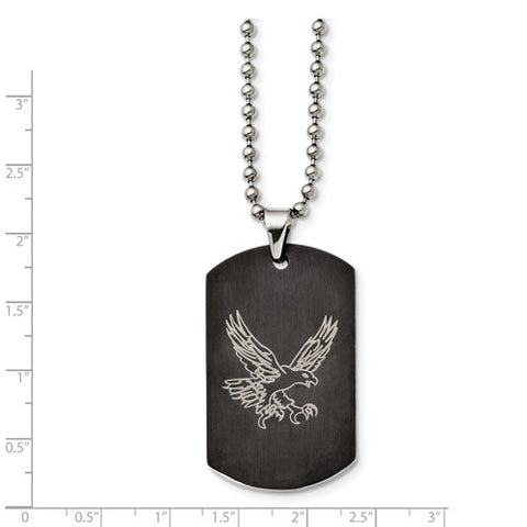 Stainless Steel Eagle Dog Tag Black
