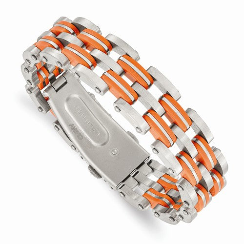 Stainless Steel Orange Rubber Bracelet