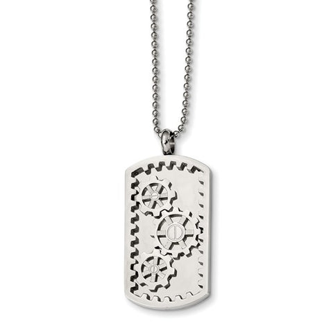 Stainless Steel Polished Gears  Dog Tag
