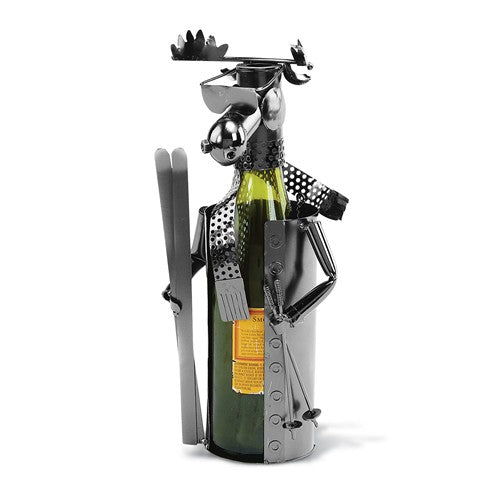 Skiing Moose Metal Wine Caddy