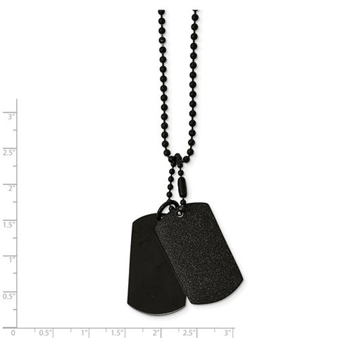 Stainless Steel Black IP Double Dogtag Necklace